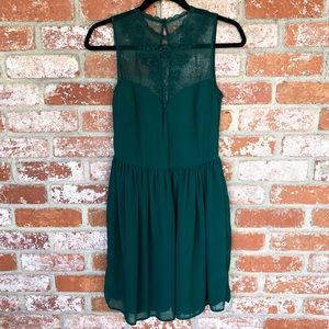 EUC Zara Emerald Green Party Dress sheer beaded